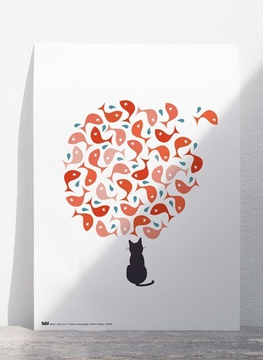 Kedinin Rüyası Poster-Fabl